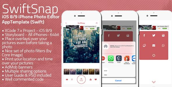 SwiftSnap - iOS 8/9 iPHone Photo App Template (Swift)
